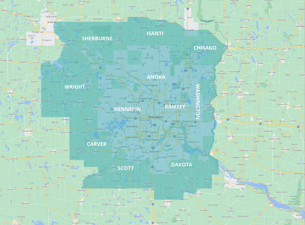 Map of Minnesota Counties Serviced by CBlock Investments, a Contract for Deed Financing Company